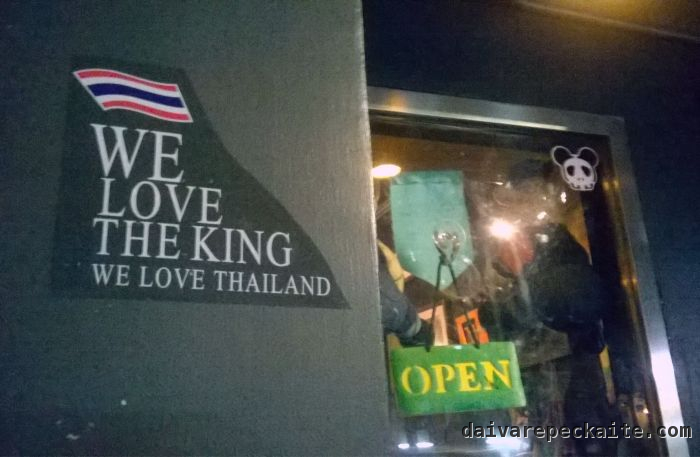 Sign outside a Bangkok cafe